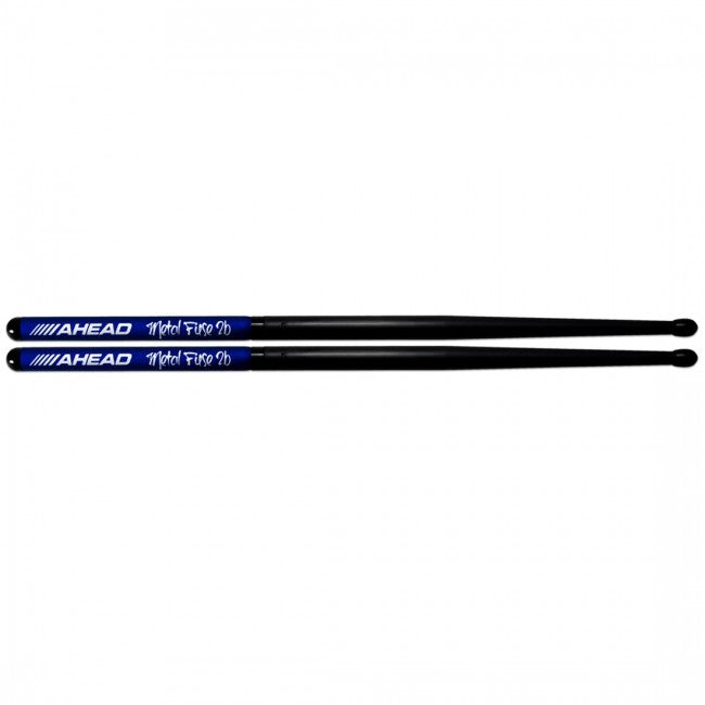 Ahead Metal Fuse 2B Long Taper Aluminium Black Tip Drumsticks Pair