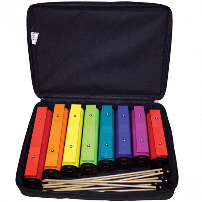 Chroma-Notes 8-Note Tube Resonator Bell Set w/ 8-Mallets & Carrying Case
