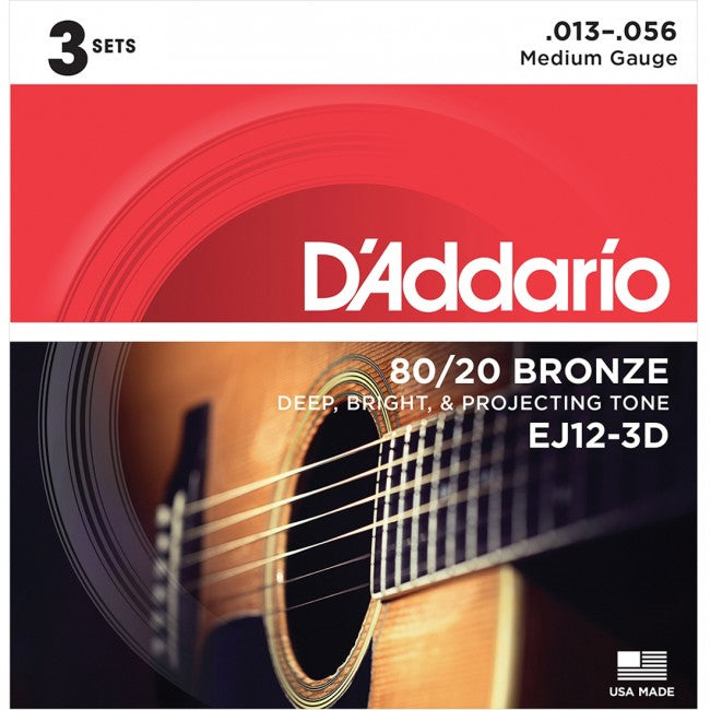 D'Addario EJ12-3D Acoustic Guitar Strings