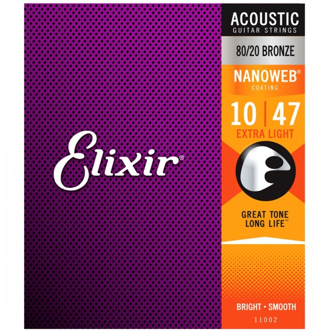 Elixir 11002 Acoustic Guitar Strings Nanoweb Extra Light 10-47
