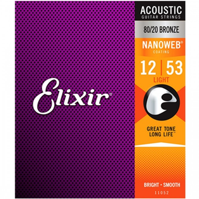 Elixir 11052 Acoustic Guitar Strings Nanoweb Light 12-53 80