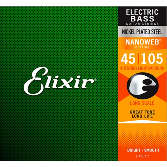 Elixir 14077 Bass Guitar Strings 4 String Medium