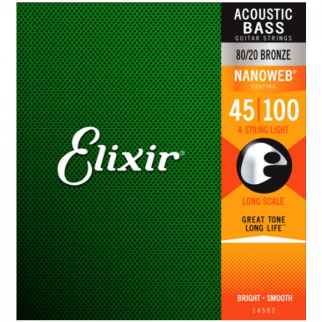 Elixir 14502 Acoustic Bass Guitar Strings Light 45-100