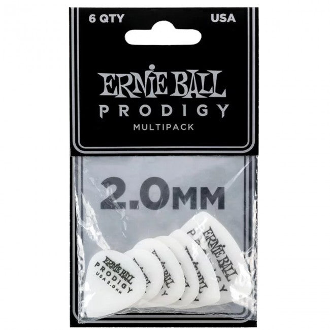 Ernie Ball 9343 Prodigy Picks 6-Pack Multipack 2.0mm White