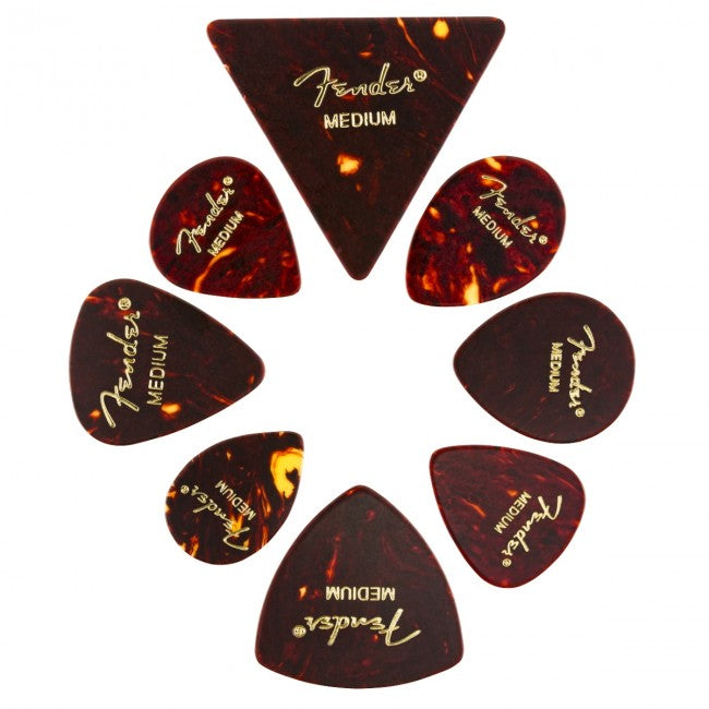 Fender All Shapes Celluloid Medley Guitar Picks Medium Tortoise Shell 8-Pack