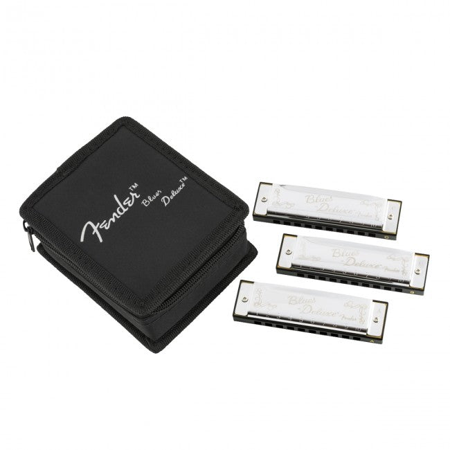 Fender Blues Deluxe Harmonica 3-Pack w/ Case