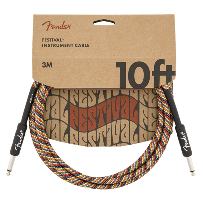 Fender Woodstock Festival Guitar Cable 3m (10ft) Instrument Lead Pure Hemp Rainbow - 0990910299