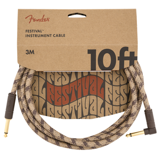 Fender Woodstock Festival Guitar Cable 3m (10ft) Angled Instrument Lead Pure Hemp Brown Stripe - 0990910022