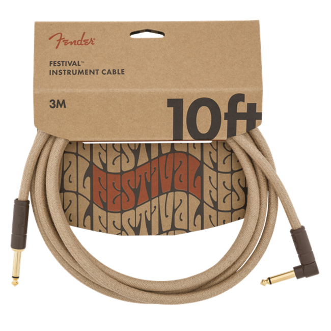 Fender Woodstock Festival Guitar Cable 3m (10ft) Angled Instrument Lead Pure Hemp Natural - 0990910021