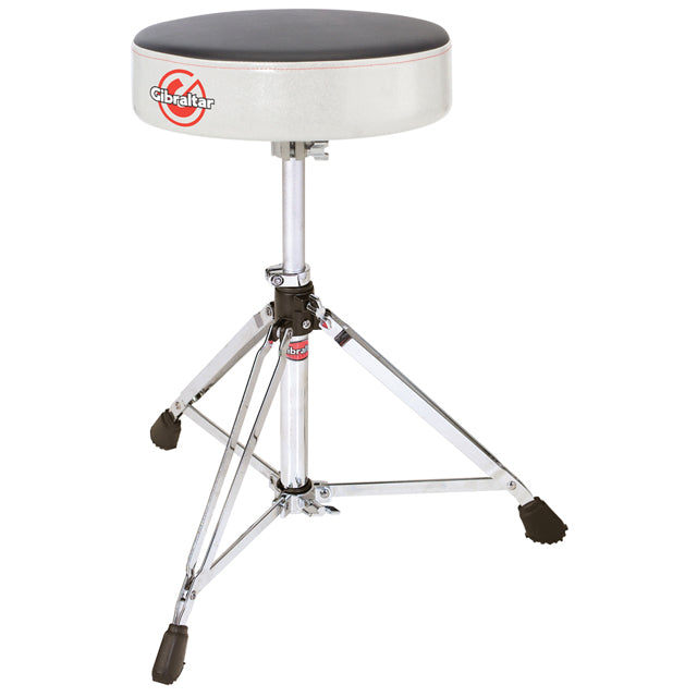 Gibraltar 6608RSW Drum Throne Stool Double Braced Round Style White Sparkle Finish GI6608RSW