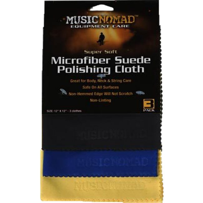 Music Nomad MN203 Super Soft Microfiber Suede Polishing Cloth - 3 Pack