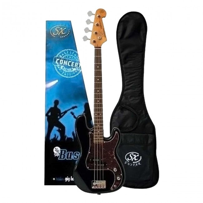 SX Bass Guitar Short Scale Left Handed 3/4 Size 30inch Black - VEP34LHB