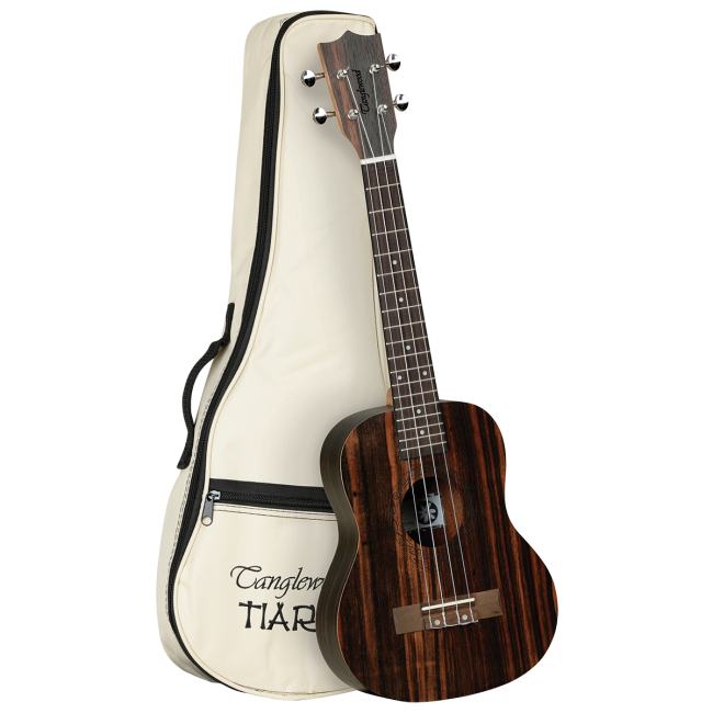 Tanglewood TWT19 Tiare Tenor Ukulele All Figured Ebony Uke w/ Bag