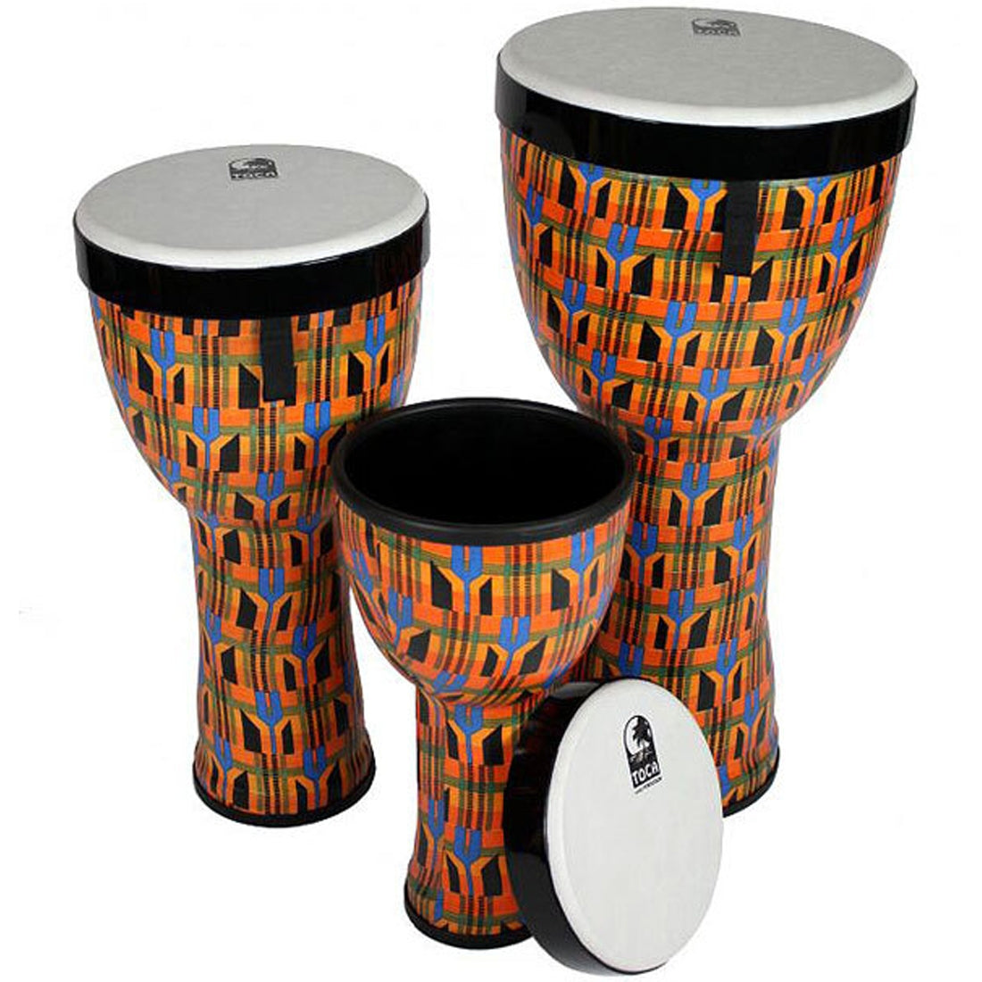 Toca Freestyle 2 Series Nesting Djembe 3-Pieces (8, 10, 12inch) Kente Cloth - TF2ND3PCK