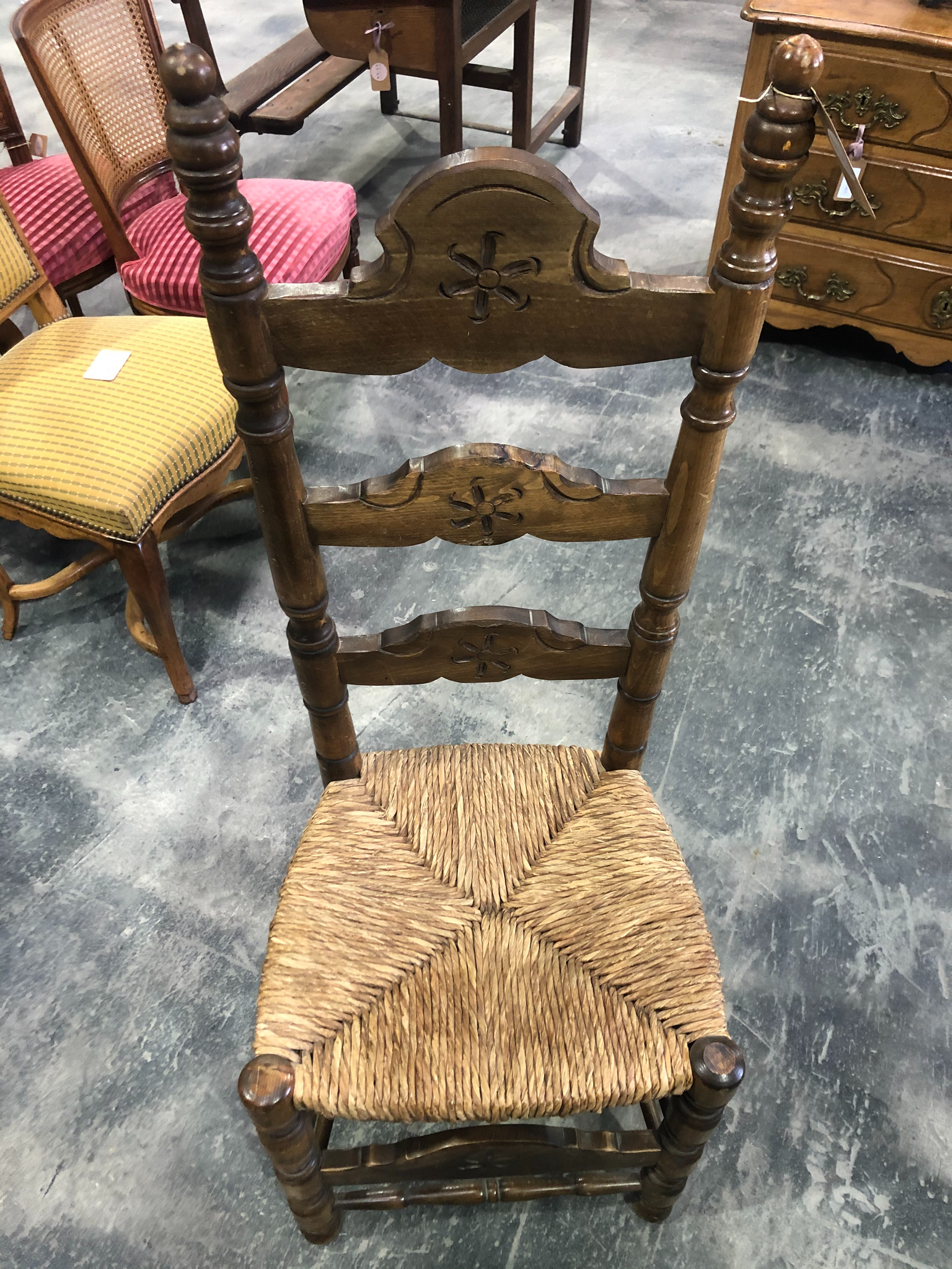 Savoyard Hand Carved Tall Ladder-Back chairs