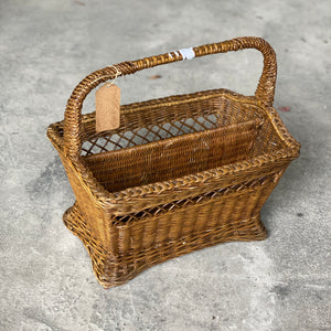 Old French Wicker magazine rack/basket