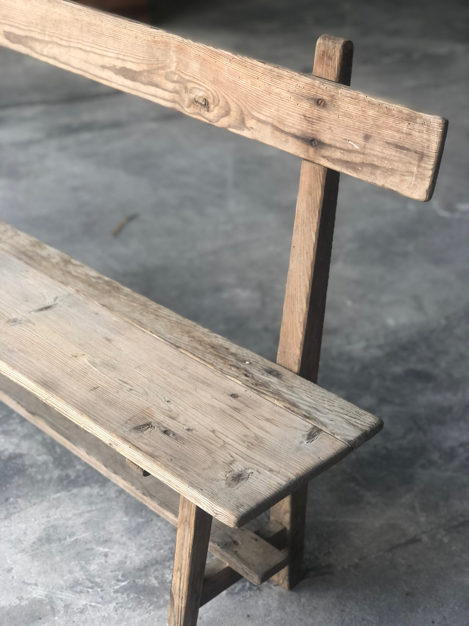 Antique French rustic pine bench with back rest