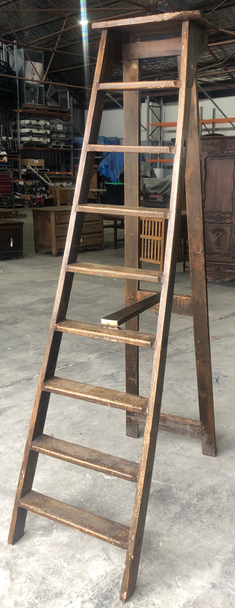 Antique French wooden ladder