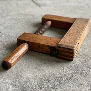Large French Antique Wood Clamp