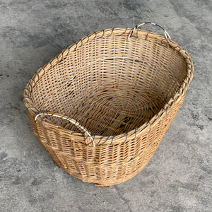 Large Antique Wicker Basket with timber and wire handles