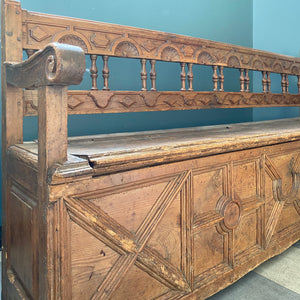 One of a kind Antique Hall Bench with opening bench seat