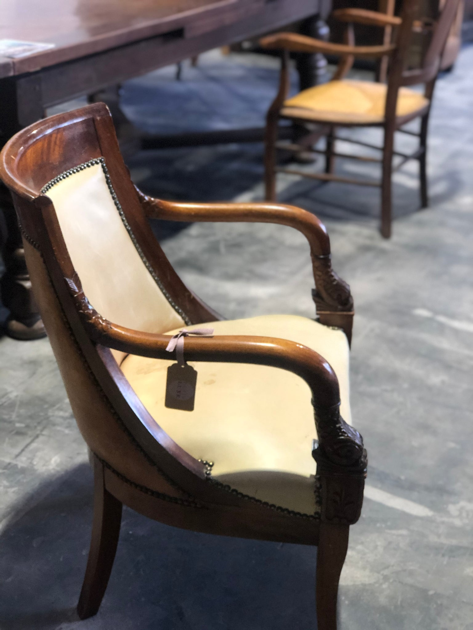 Yellow Leather period armchair