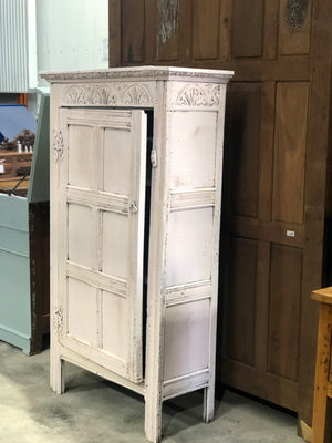 Antique 17th Century Carved Oak Painted Cupboard