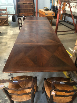 Large French Antique Draw Leaf Dining Table