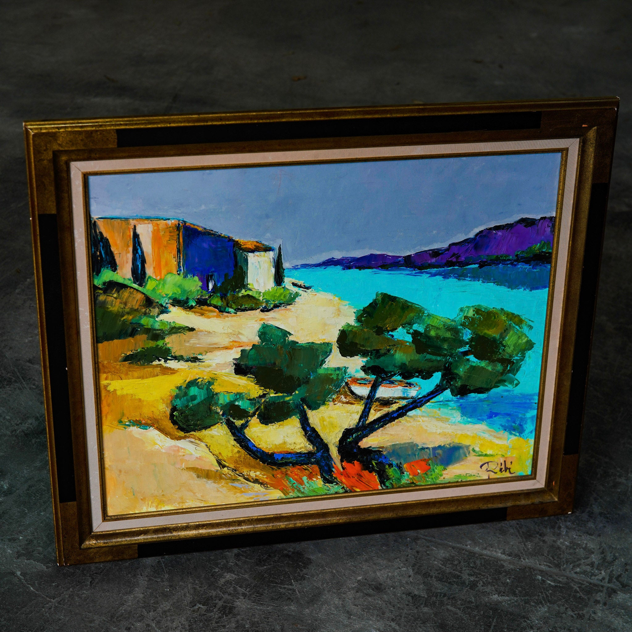 Original French Oil Painting - French south coast