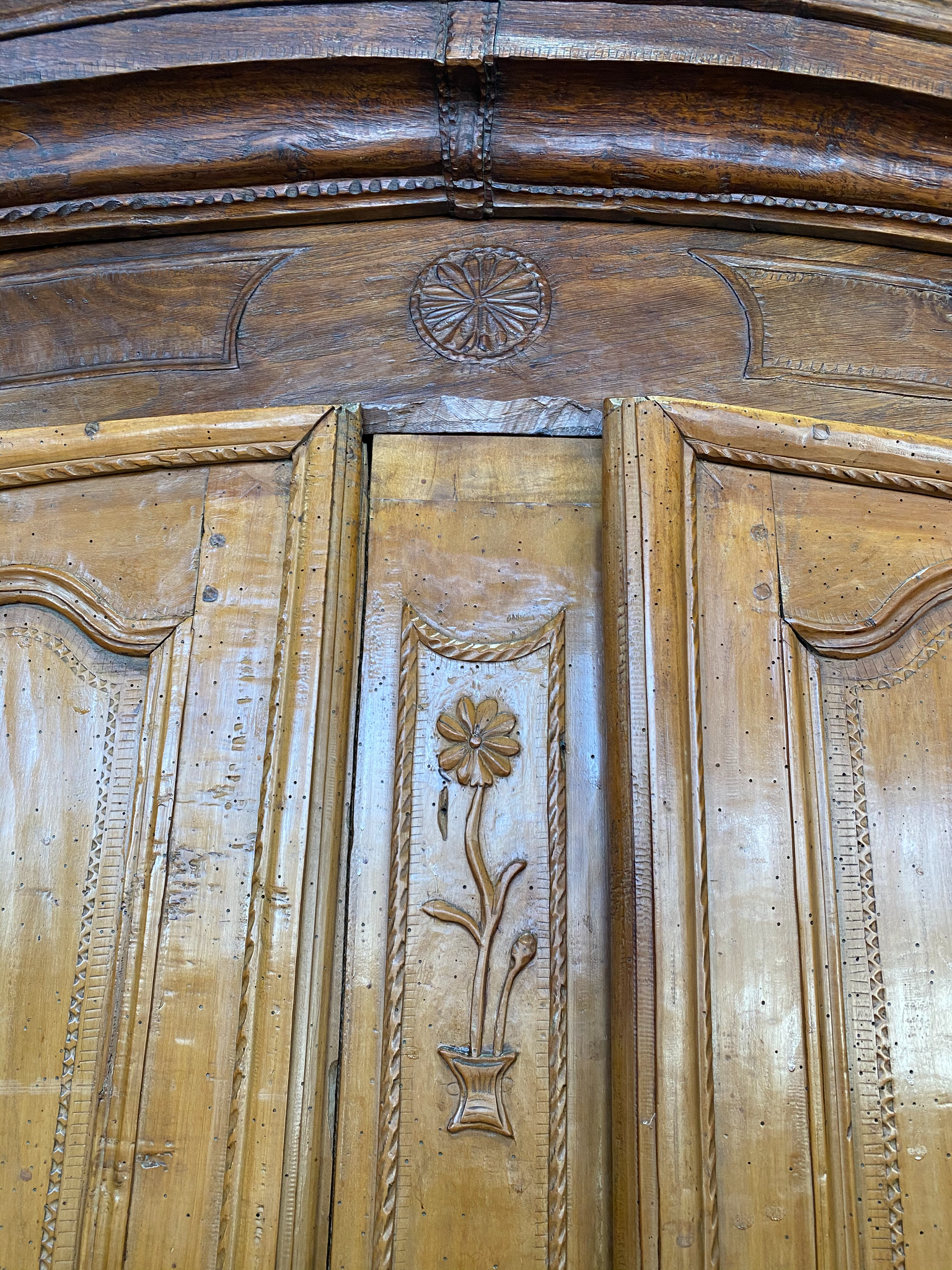 Impressive 18th Century Armoire with Floral Carvings