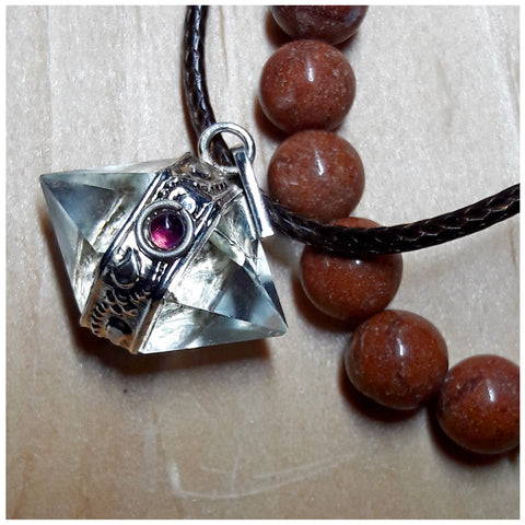 """Effortless Manifesting"" Icosahedron Sacred Geometry Pendant and Red Jasper Bracelet Set"