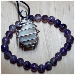 """Heightened Intuition"" Moonstone Necklace and Amethyst Bracelet Set"