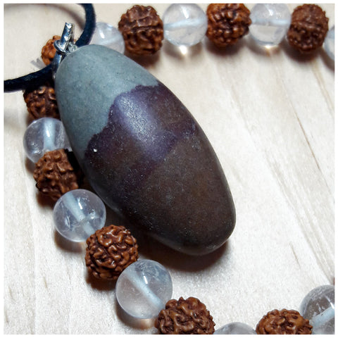 """Harmonious Balance"" Natural Shiva Lingam Necklace and Rudraksha Seed and Quartz Crystal Bracelet Set"