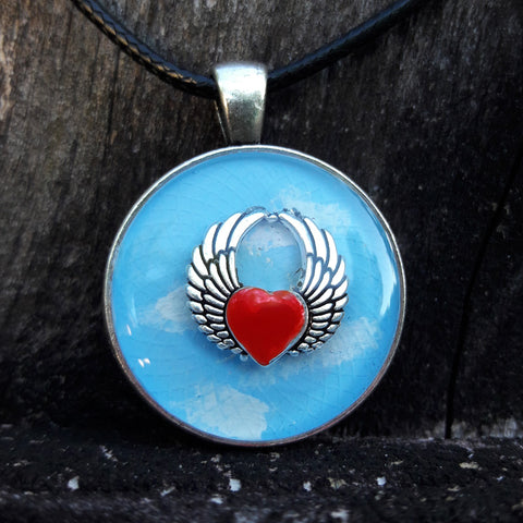 Set Free Your Heart Round Resin Pendant and Necklace