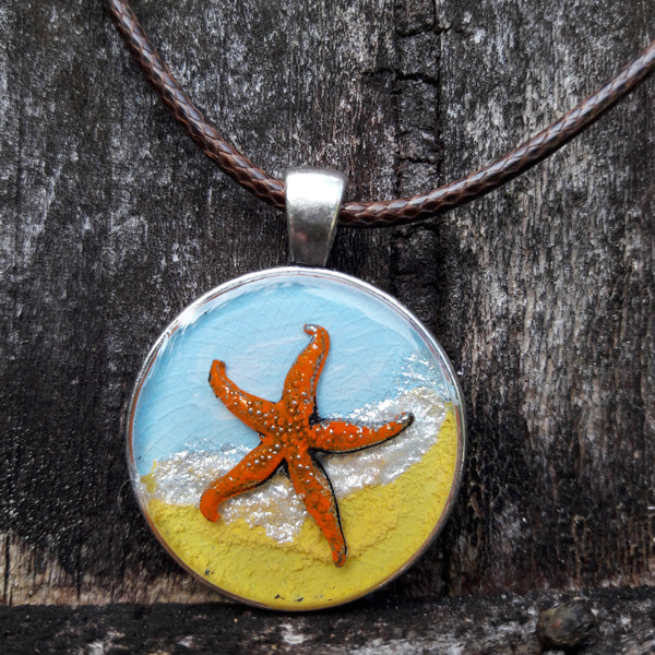 "Starfish ""Make a Difference"" Wearable Art Pendant"