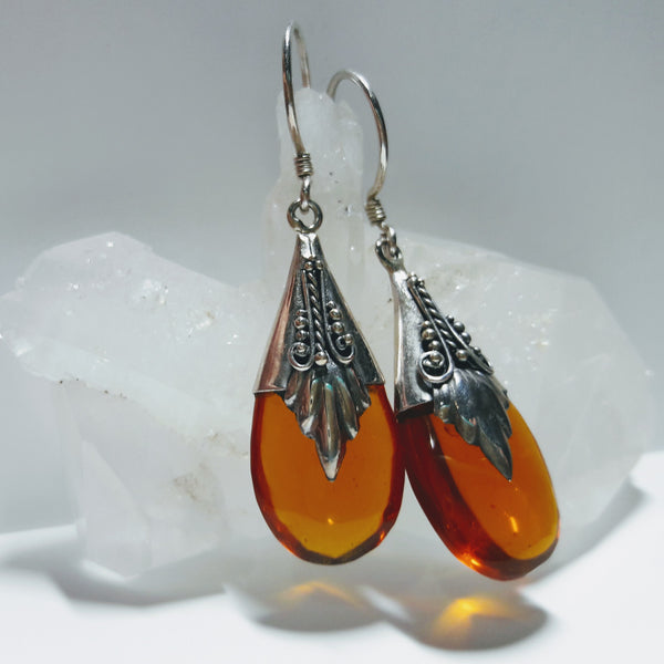 Sterling Silver and Amber Raindrop Earrings
