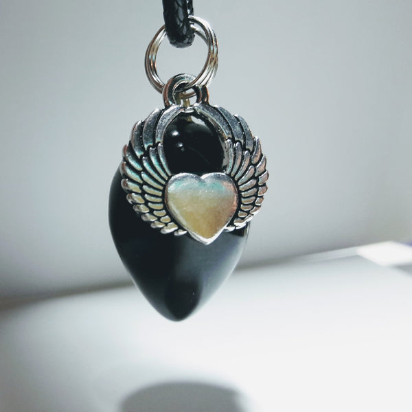 """Free to Fly"" Winged Heart and Natural Black Onyx Pendulum Necklace Set"