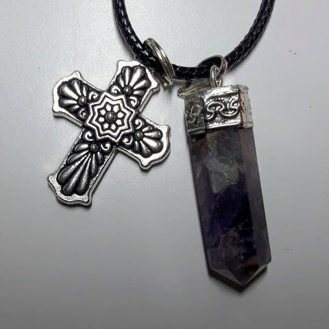 Natural Amethyst and Pewter Talavera Cross Pendant & Necklace Set