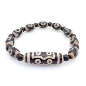 Tibetan 7-eyes dZi Bead, 3 eyes dZi beads, and Black Agate Bracelet