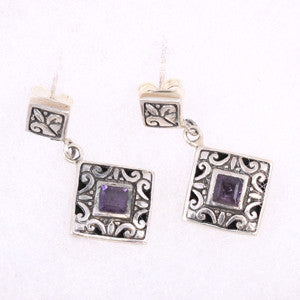 Diamond Shaped Filigree Sterling Silver and Amethyst Earrings