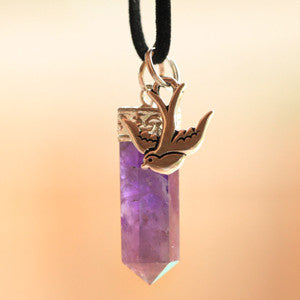 Natural Amethyst and Pewter Swallow Pendant & Necklace Set