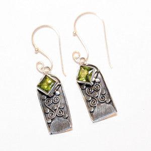 Sterling Silver and Citrine Silver Scroll Earrings