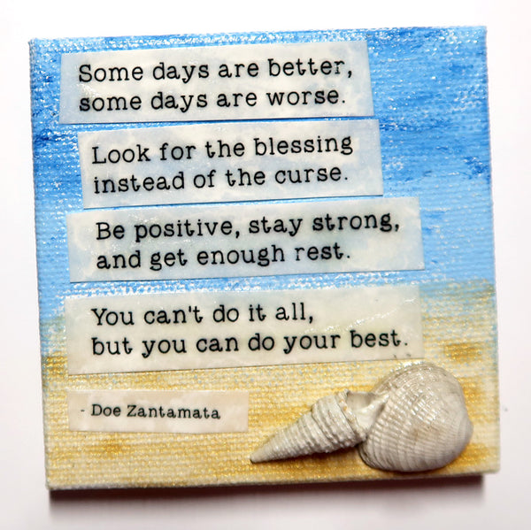 Do your best - Original Mixed Media mini canvas Painting by Doe Zantamata