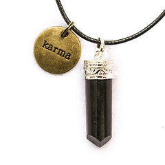 Karma and Black Tourmaline Point Pendant