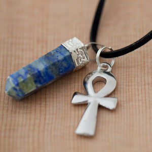 Natural Lapis Lazuli Pendant and Silver Toned Pewter Ankh Necklace Set