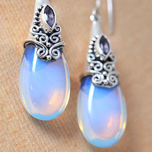 Sterling Silver Amethyst and Opalite Moonstone Raindrop Earrings