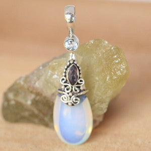 Moonstone, Amethyst, and Aquamarine Sterling Silver Pendant