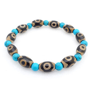 Tibetan dZi 3 Eyes Beads with Simulated Turquoise Bracelet