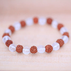 Natural Quartz Crystal and Rudraksha Bracelets