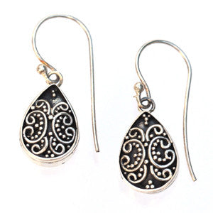 Sterling Silver and Ornate Leaf Earrings